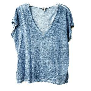 JOIE Linen V-Neck Tee Shirt Oversized